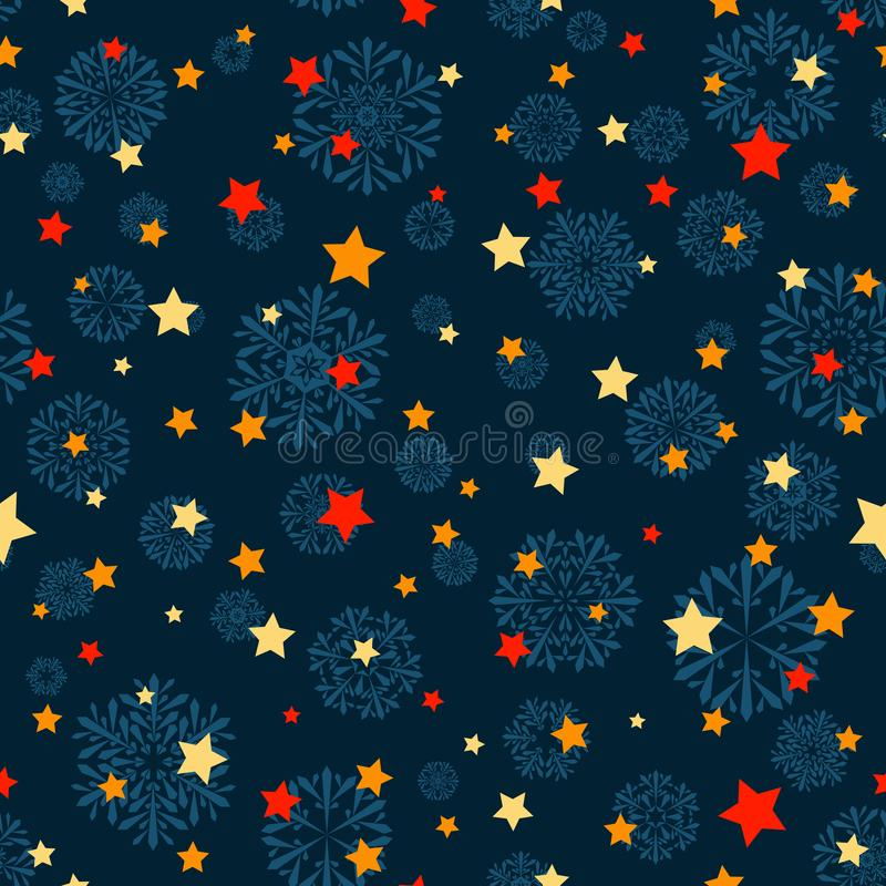Blue snowflakes and orange red yellow stars on blue winter background. vector seamless pattern. holiday backdrop. textile paint stock illustration