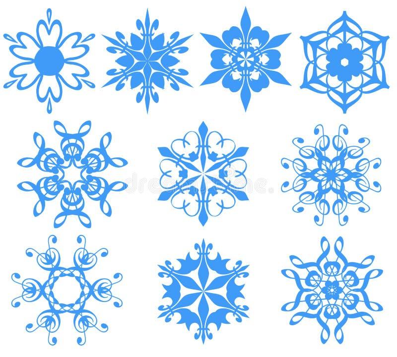 Blue snowflakes over white. royalty free illustration