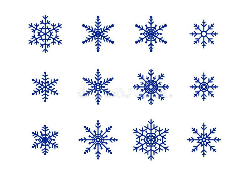 Blue Snowflakes on white. Different Blue Snowflakes on white royalty free illustration