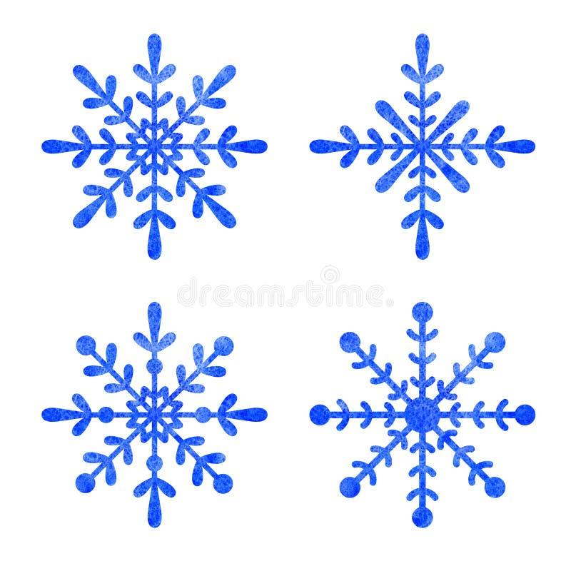 Blue snowfloke watercolor hand painted clipart. vector illustration