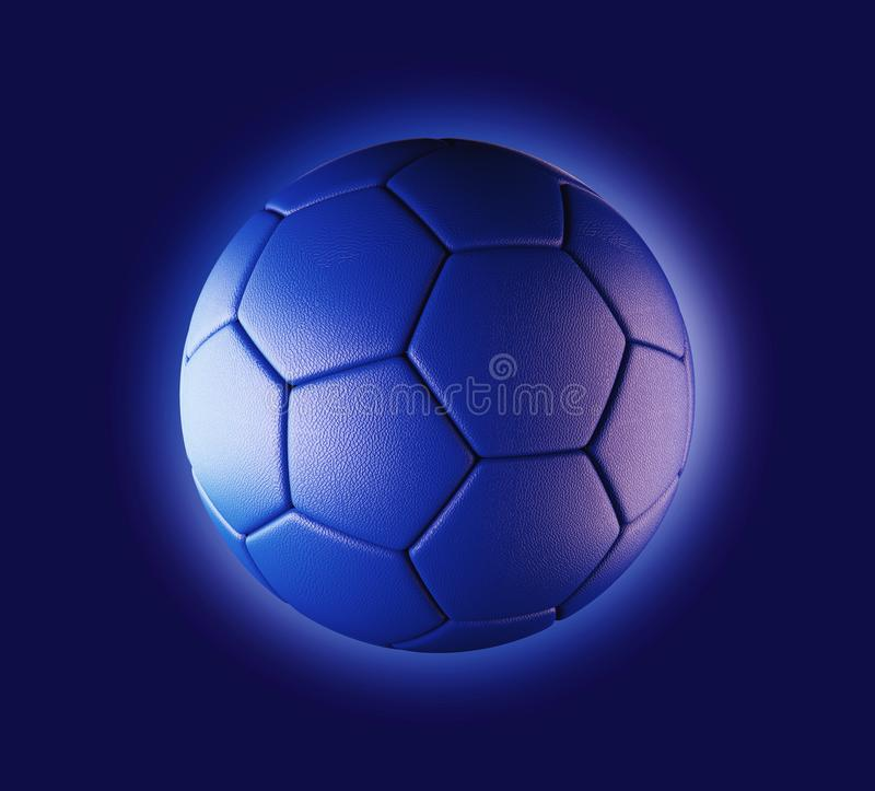 Blue soccer ball on blue background in technology concept. 3d royalty free illustration