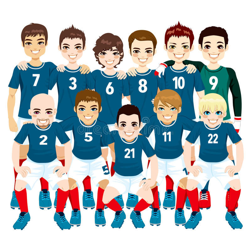 Blue Soccer Team Players vector illustration