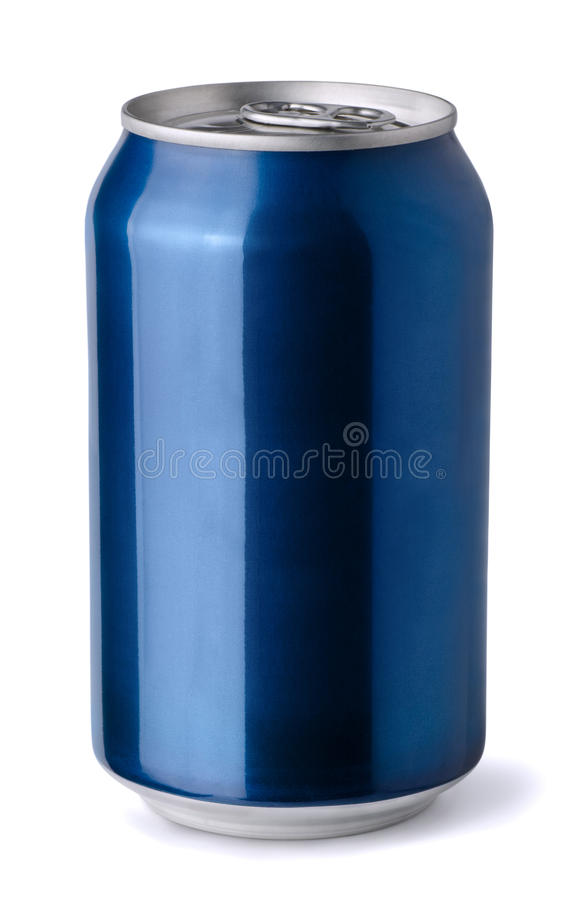 Blue soda can. Blank blue aluminum soda can isolated on white royalty free stock photos