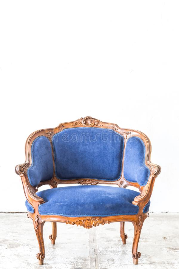 Blue sofa couch. In vintage room - classical style stock photography