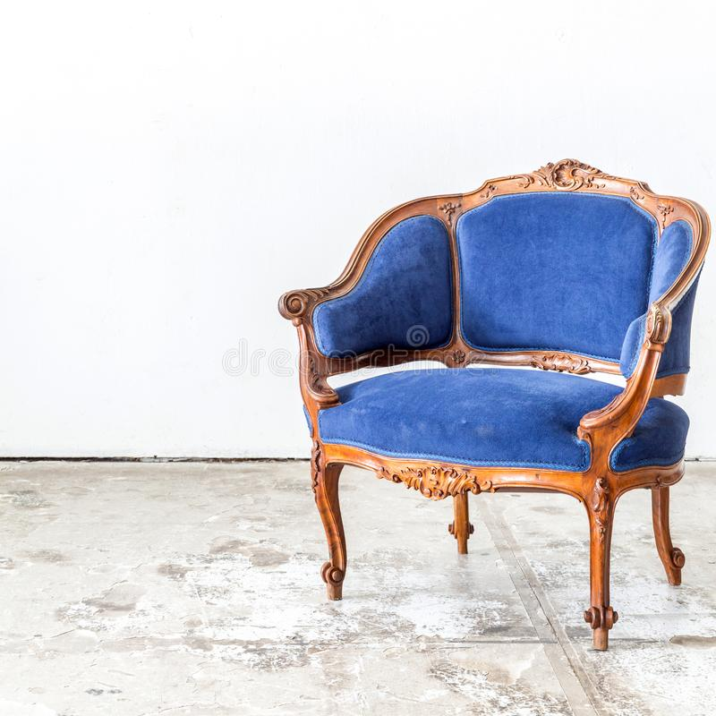 Blue sofa couch. In vintage room - classical style stock photos