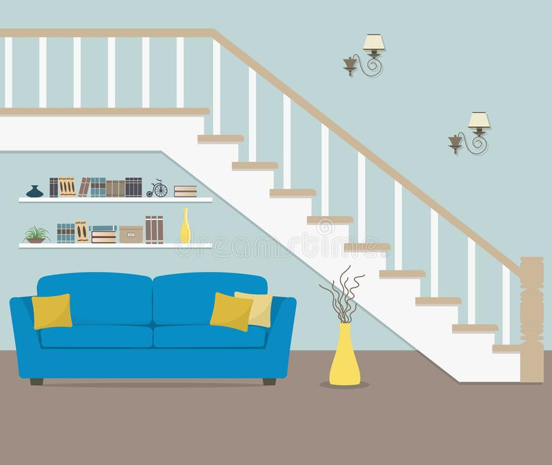 Blue sofa with pillows, located under the stairs vector illustration