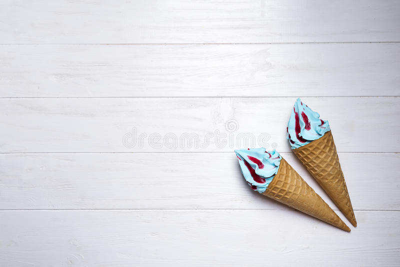 Blue soft ice cream royalty free stock images