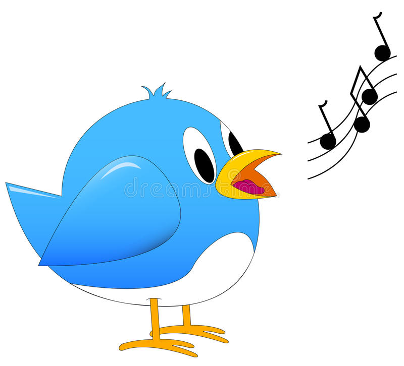 Blue song bird singing royalty free illustration