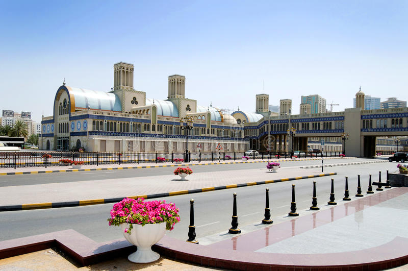 Blue souk in Sharjah. Arabic souk with road in foreground, Sharjah, United Arab Emirates royalty free stock photos