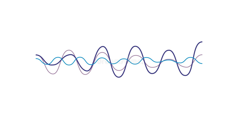 Blue sound wave, audio digital equalizer technology, musical pulse vector Illustration on a white background stock illustration