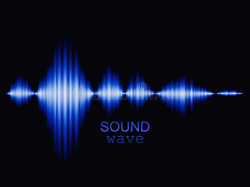 Blue sound wave background. Abstract vector illustration stock illustration