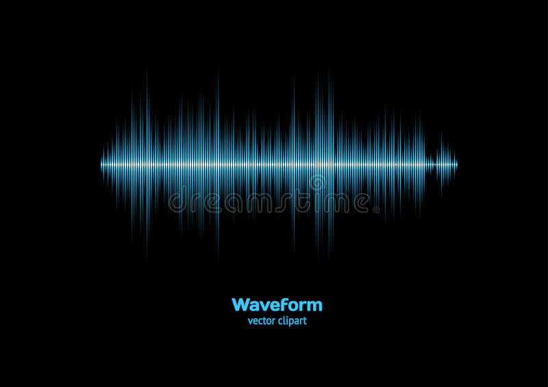 Blue sound waveform. Blue shiny sound waveform with sharp peaks vector illustration