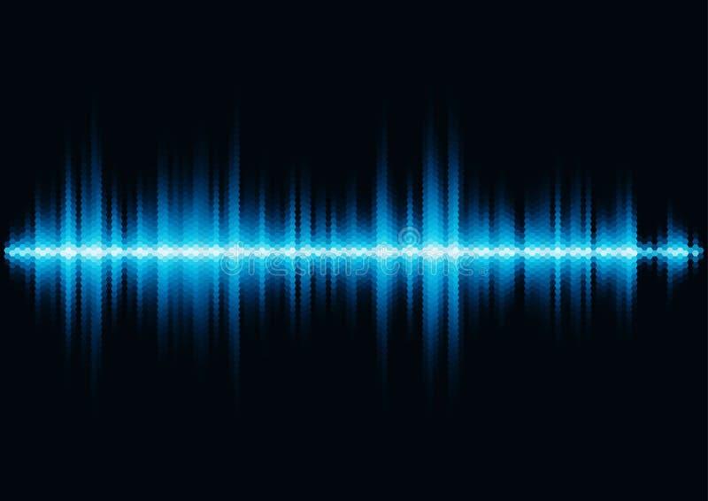 Blue sound waveform with hex grid light filter stock illustration