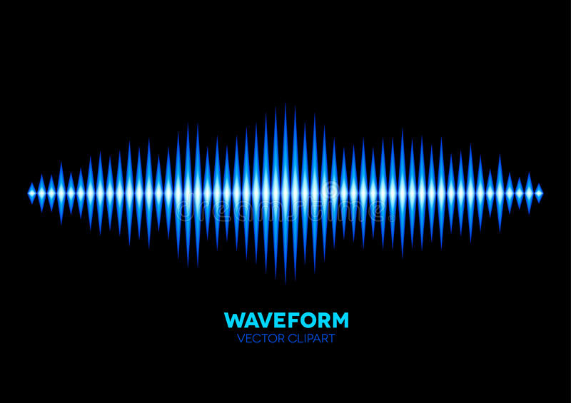 Blue sound waveform. Blue shiny sound waveform with shiny peaks royalty free illustration