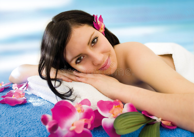 Blue spa stock image