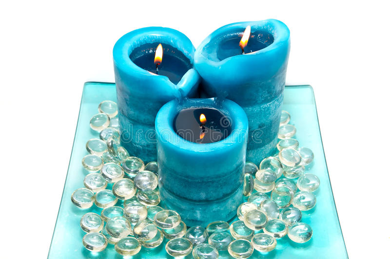Blue Spa Candles Royalty Free Stock Image