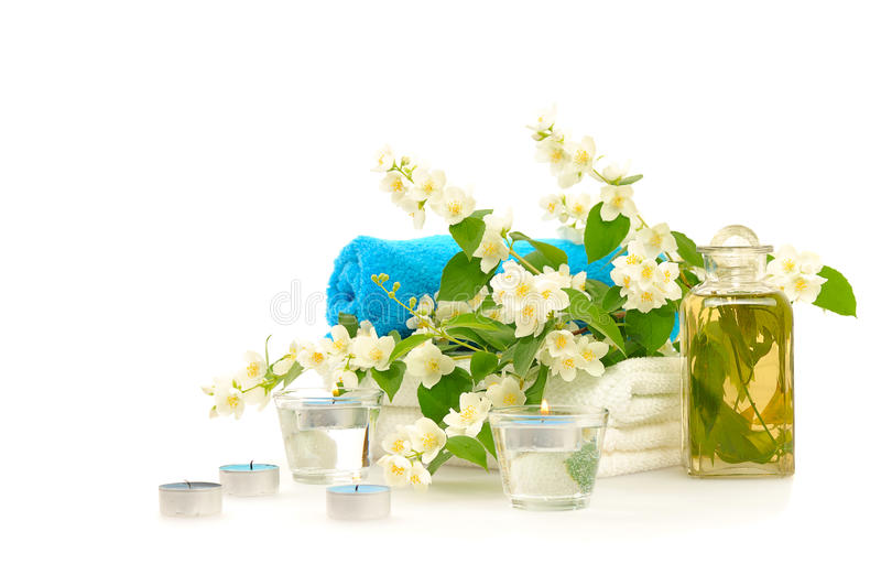 Blue spa with jasmin. On white background royalty free stock photo