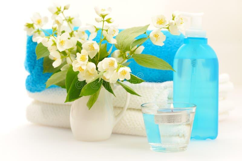 Blue spa with jasmin. On white background stock photo