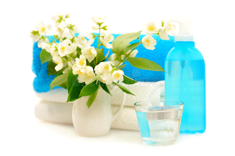 Blue spa with jasmin. On white background stock images