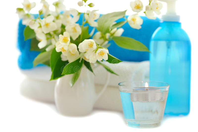 Blue spa with jasmin. On white background stock image