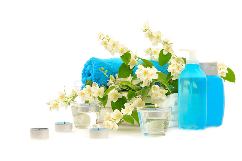 Blue spa with jasmin. On white background stock photography