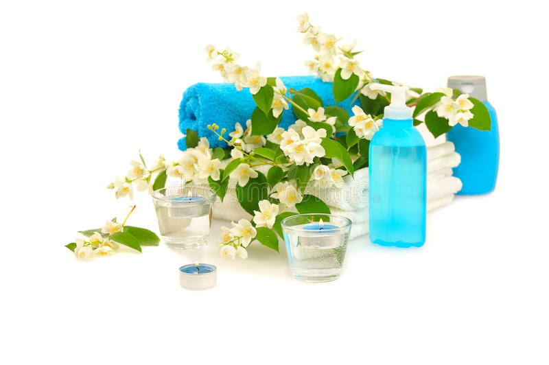 Blue spa with jasmin. On white background royalty free stock images