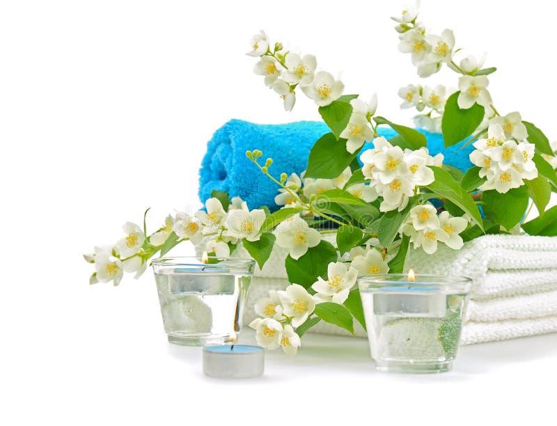 Blue spa met jasmijn stock afbeeldingen