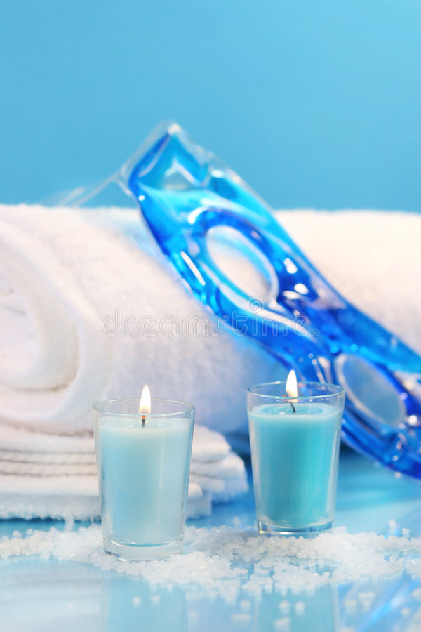 Blue spa ontspanning stock afbeelding