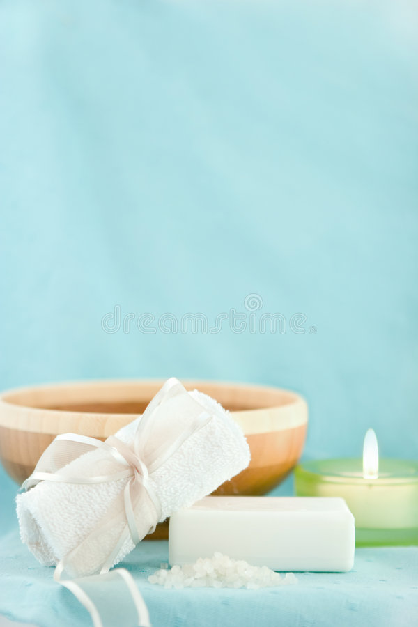 Download Blue spa scene stock image. Image of ribbon, candle, soft - 4476585