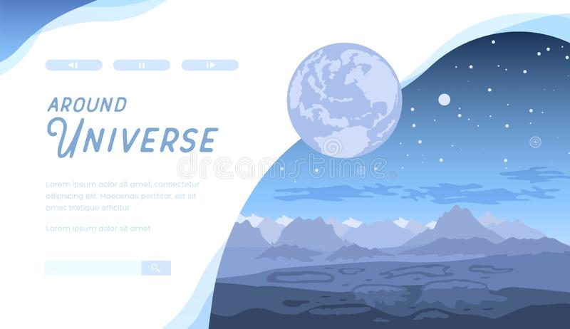 Blue space futuristic landscape with asteroids. royalty free illustration