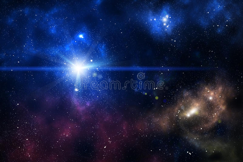 Blue space nebula. As abstract background royalty free illustration