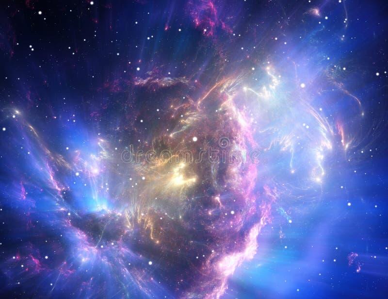 Blue space nebula vector illustration