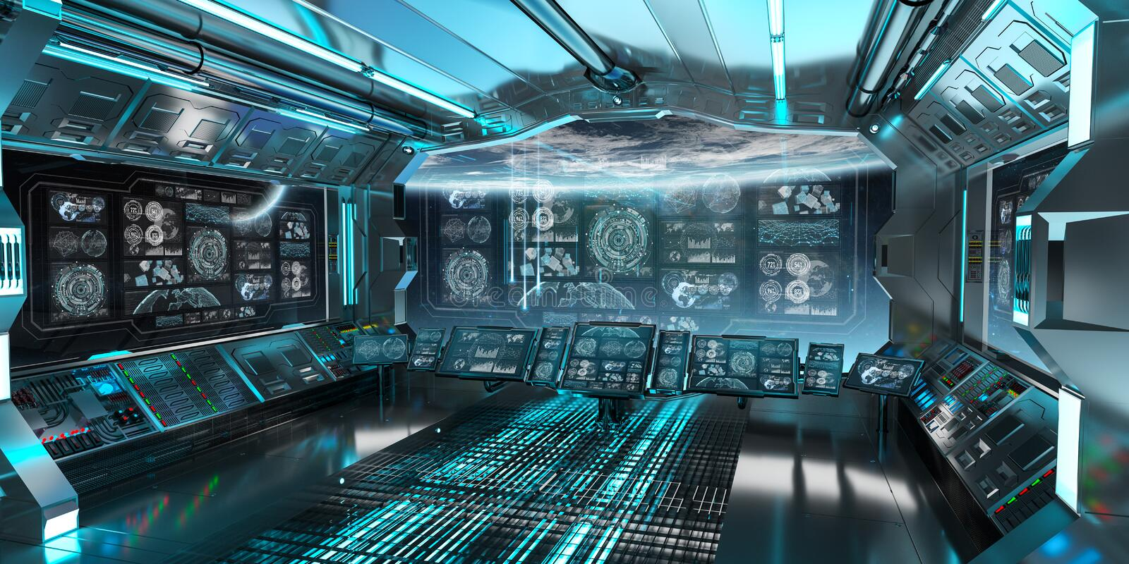 Blue spaceship interior with control panel screens 3D rendering stock illustration