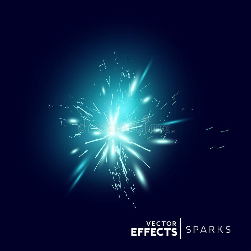 Blue Sparks and Explosion Effect vector illustration