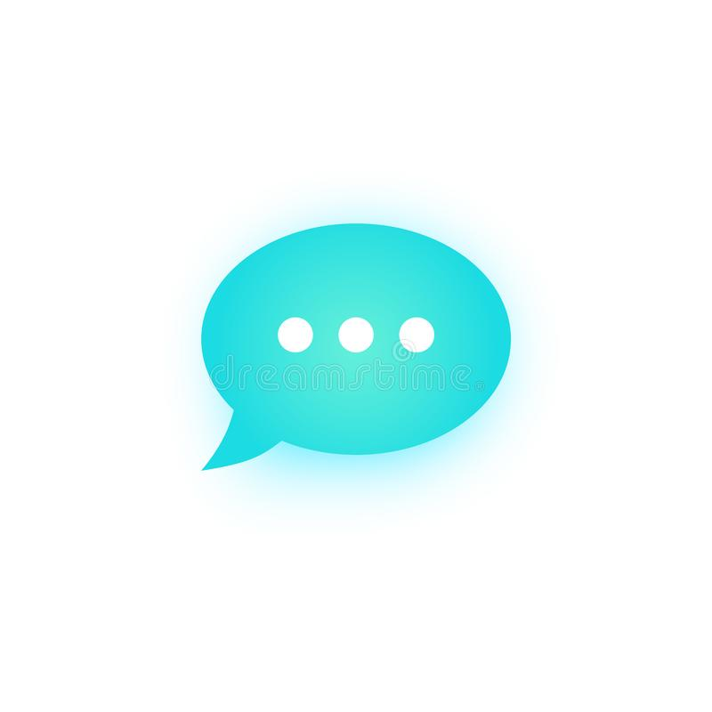 Blue speech bubble with shadow, speech balloon, chat bubble line art vector icon for apps vector illustration