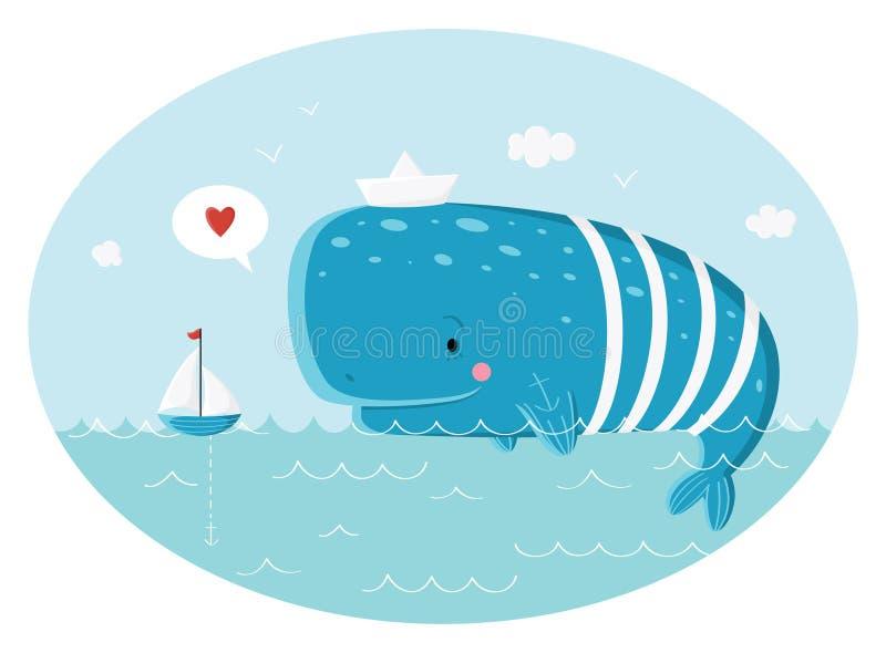 Blue sperm whale sailor. And ship. Vector illustration vector illustration