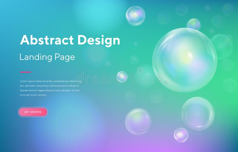 Blue Sphere bubble soap Abstract Motion Landing Page Background. Futuristic Digital Minimal Orb Gradient Pattern vector illustration