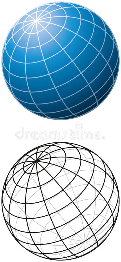 Blue Sphere With Meridians royalty free illustration