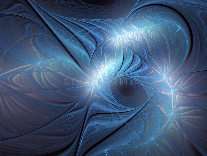 Blue spiral abstract fractal. stock photography