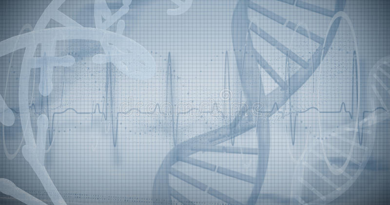 Blue spiral dna pattern on screen. Against white background stock images