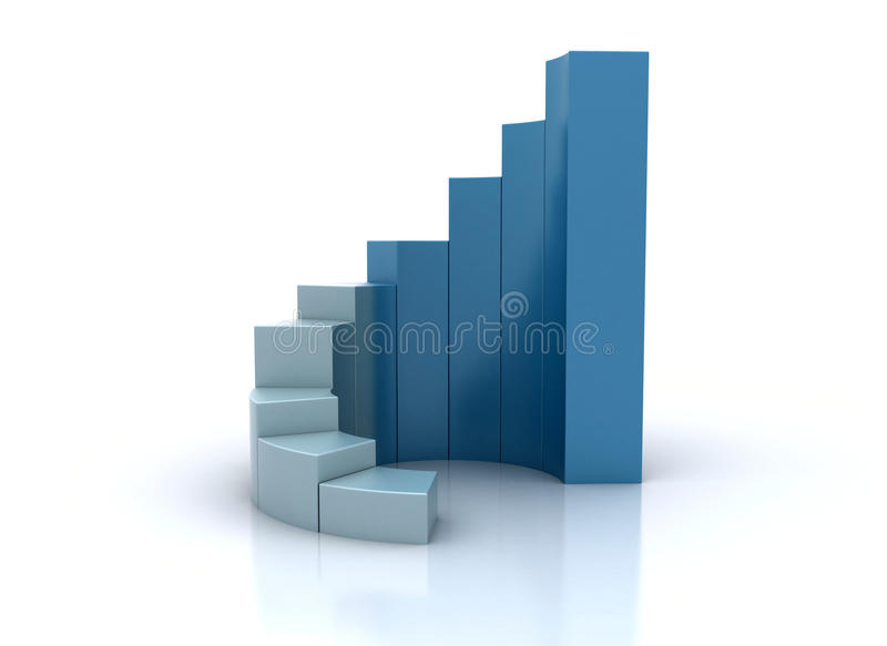 Blue spiral graph stock illustration