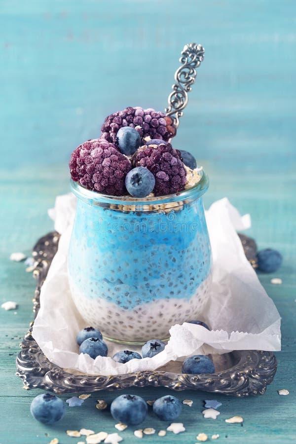 Blue spirulina chia pudding stock image