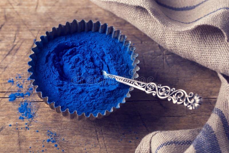 Blue spirulina powder royalty free stock image
