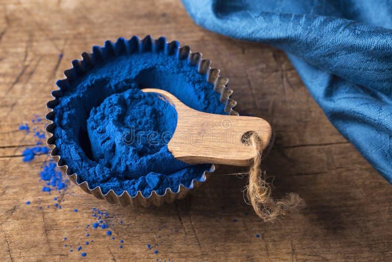 Blue spirulina powder royalty free stock photo