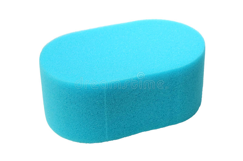 Blue Sponge on White. Blue sponge isolated on a white background with clipping path stock photo