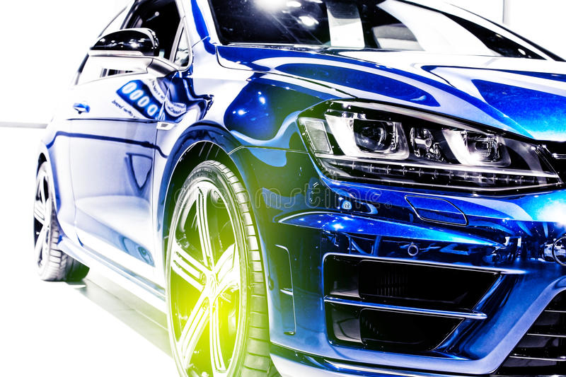 Blue sport car. Autoshow 2014 royalty free stock photography