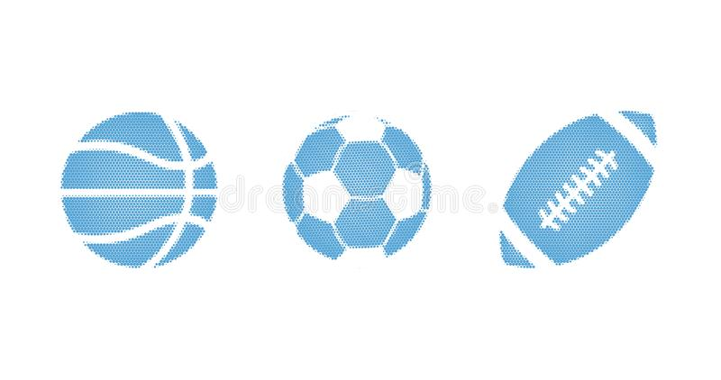 Blue sport halftone dotted vector illustration of a balls set for football, basketball, soccer, isolated on a white background. Blue halftone dotted vector royalty free stock photo