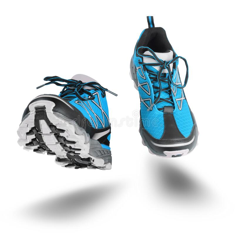 Blue sport shoes running isolated on white stock photos