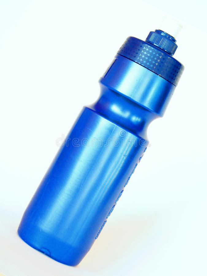 Blue sports bottle royalty free stock photo