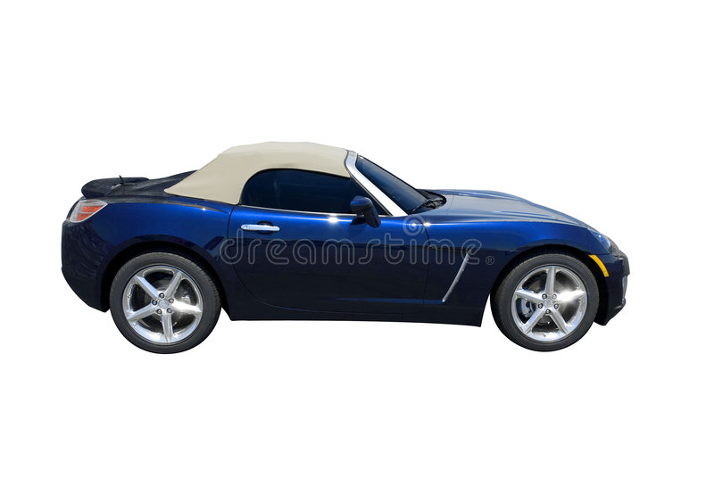 Blue Sports Car. Blue convertible sports car roadster isolated on a white background. Clipping path included stock images